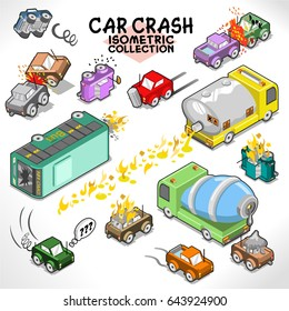 Car crashes and other vehicle accidents (isometric objects collection)