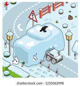 Car crashing through wall on a curvy road of snow in wintertime (isometric illustration)