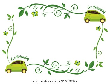 Car with Creeping Plant Decoration Frame, Ecology, Energy Conservation
