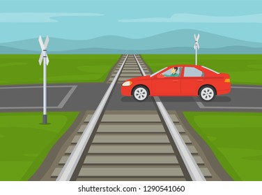 Car crossing unprotected railway intersection. Flat vector illustration.