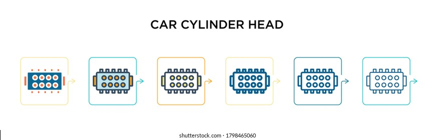 Car cylinder head vector icon in 6 different modern styles. Black, two colored car cylinder head icons designed in filled, outline, line and stroke style. Vector illustration can be used for web,