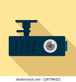 Car dash cam icon. Flat illustration of car dash cam vector icon for web design
