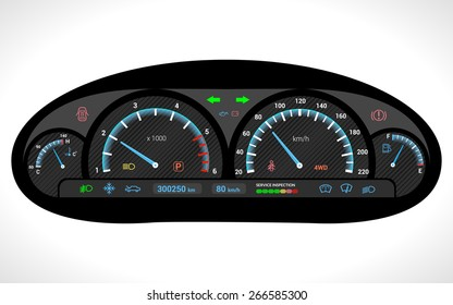 Car dashboard auto speedometer panel isolated on white background vector illustration