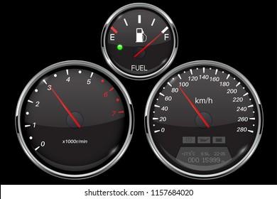 Car dashboard black gauges set. Speedometer, tachometer, fuel gauge. Vector 3d illustration