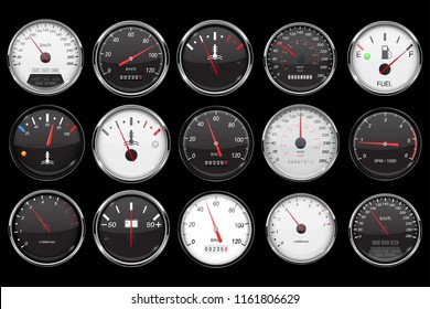 Car dashboard gauges. Collection of speed, fuel, temperature devices on black background. Vector 3d illustration