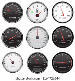 Car dashboard gauges. With metal frame. Collection of speed, fuel devices. Vector 3d illustration