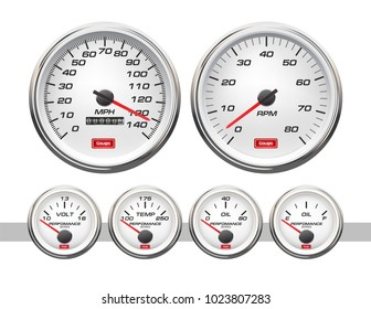 Car dashboard gauges set. Collection of speedometers, tachometers. Vector illustration isolated on white background.