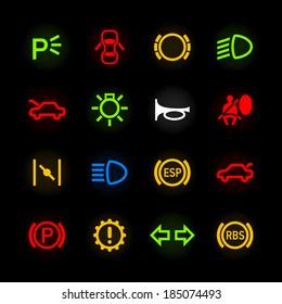 Car dashboard icons. Vector.