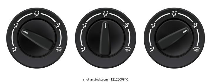 Car dashboard knob switch set. Auto air conditioner. Air flow direction selectors. Vector 3d illustration