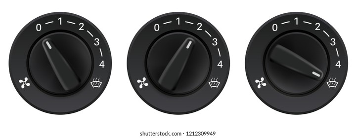Car dashboard knob switches. Auto air conditioners. Air flow level selectors. Vector 3d illustration isolated on white background