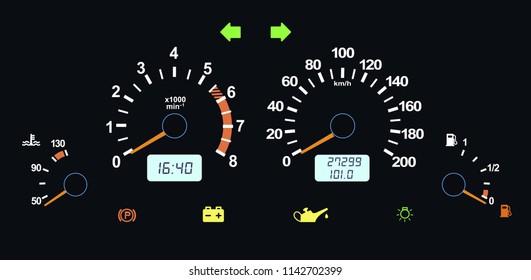 Car dashboard modern automobile control illuminated panel speed display. Vector illustration on black background.