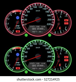 Car dashboard, night mode. Speedometer with red and green backlight. Vector illustration.