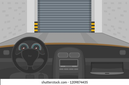 Car dashboard with opened glove compartment in garage. Interior view. Flat vector illustration.