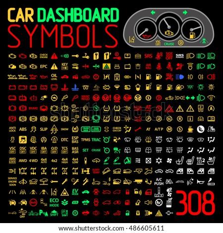 Car Dashboard Panel Icons Symbols Warning Stock Vector Royalty Free