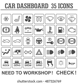 Car dashboard panel indicators.