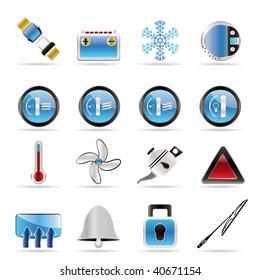 Car Dashboard - realistic vector icons set