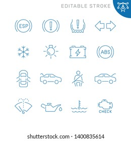 Car dashboard related icons. Editable stroke. Thin vector icon set, black and white kit