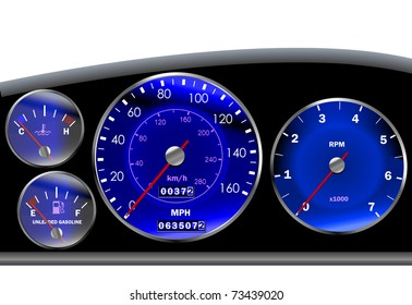 Car dashboard or speedometer for motor or sportscar in blue