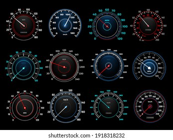 Car dashboard speedometer round indicators with glowing neon light kilometers and miles per hour scales and arrow. Modern automobile analog or digital speed and distance counters set