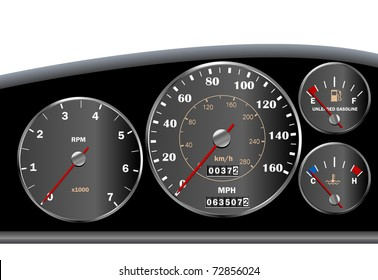 Car dashboard speedometer - vector