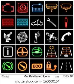 Car dashboard vector icons