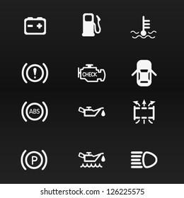 Car dashboard vector icons set 1