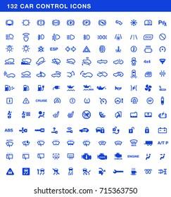 Car dashboards symbols vector set