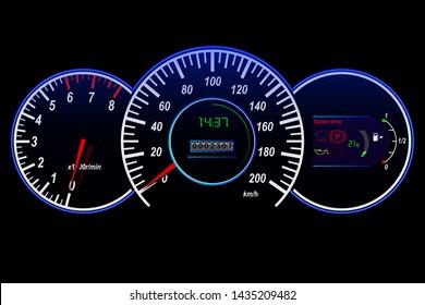 Car dashboard-speedometer, tachometer, odometer, temperature and fuel sensor, vector illustration