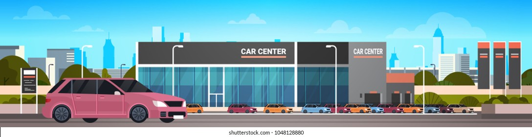 Car Dealer Center Showroom With New Vechicle Horizontal Banner
