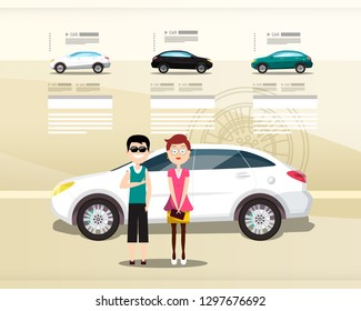 Car Dealer Web Design Vector Presentation. Cars with Happy People on Modern Leaflet.