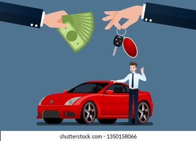 The car dealer's make an exchange, sale, rent between a car and the customer's credit card. Vector illustration design.