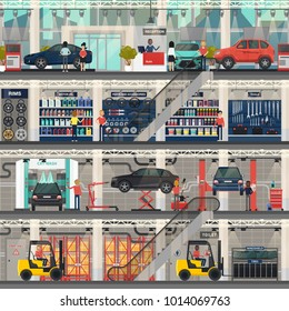 Car dealership building or construction interior or indoor view. Automobile repair service and vehicle wash, shop for sailing motor oil and rims, tyres or wheels, tools. Architecture and car theme