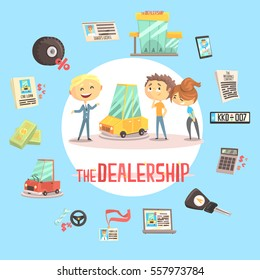 Car Dealership Firm Professional Dealer Selling The Vehicle To The Young Couple Illustration With Different Car Dealing Icons Around. Buying The Automobile With Shop Assistant Help.