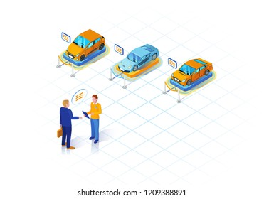 Car dealership isometric illustration. Vehicle leasing. Automobile rental and purchase. Car leasing deal infographic. Automobile salon and showroom. Website, banner design. Isolated vector