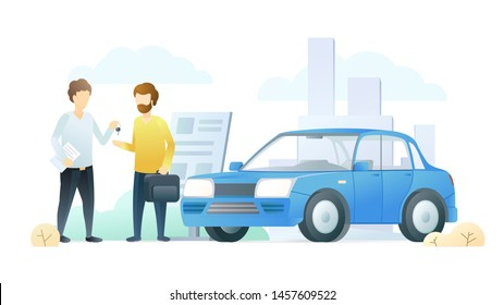 Car dealership service flat vector illustration. Salesman gives customer car keys cartoon characters. Vehicle rental business, automobile showroom, salon. Transport sale, successful agreement.