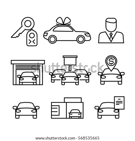 car dealerships purchase sale cars line のベクター画像素材