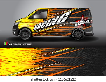Car decal design vector. abstract racing graphic stripe background kit for vehicle vinyl wrap, race car sticker, and rally livery