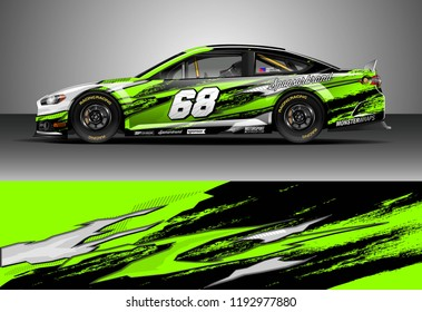 Car decal design vector. Graphic abstract stripe racing background kit designs for wrap vehicle, race car, nascar car, rally, adventure and livery