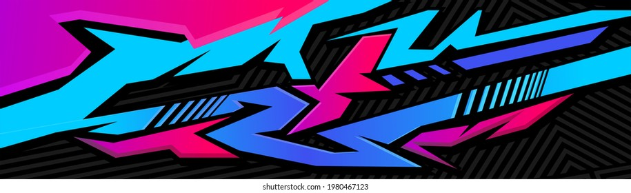 Car decal design vector. Graphic abstract stripe racing background kit designs for wrap vehicle, race car, rally, adventure and livery