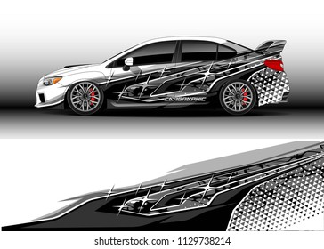 Car decal designs, cargo van and pick up truck wrap vector. Graphic abstract stripe designs for branding, offroad race, adventure and livery car