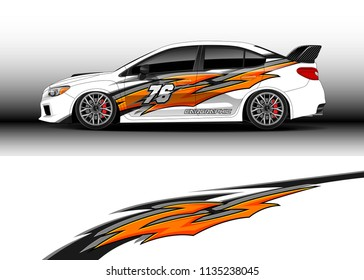 Car decal graphic vector, truck and cargo van wrap vinyl sticker. Graphic abstract stripe designs for branding and drift livery car