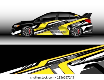 Car decal graphic vector, truck and cargo van wrap vinyl sticker. Graphic abstract stripe designs for branding, race and drift livery car