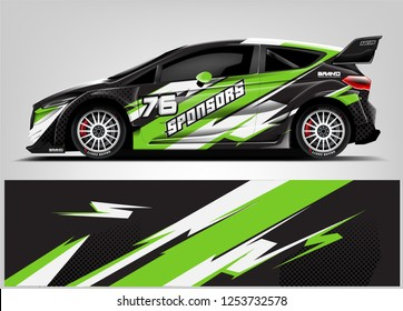 Car decal sticker wrap design vector. Graphic abstract stripe racing background kit designs for vehicle, race car, rally, adventure and livery
