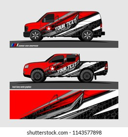 Car decal, truck and cargo van wrap vector. modern abstract stripe background designs for branding and vehicle livery
