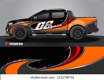 Car decal, truck and cargo van wrap vector. Graphic abstract stripe designs for branding and livery vehicle