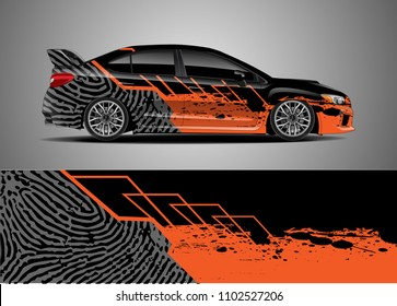 Car decal vector, graphic abstract racing designs for vehicle Sticker vinyl wrap