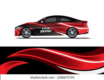 Car decal wrap design template vector illustration. Background abstract stripe racing sport graphic designs kit for race car, rally, vehicle, livery and adventure
