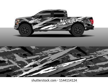 Car decal wrap design, truck and cargo van wrap vector. Graphic abstract stripe designs for vehicle, race, advertisement, adventure and livery car