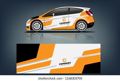 Car decal wrap design vector. Graphic abstract stripe racing background kit designs for vehicle, race car, rally, adventure and livery