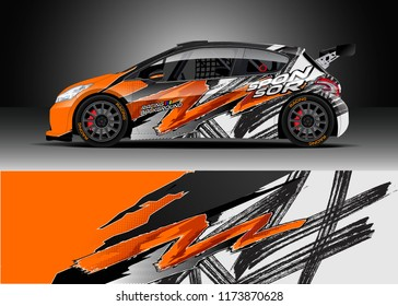 Car decal wrap design vector. Graphic abstract stripe racing background kit designs for wrap vehicle, race car, rally, adventure and livery
